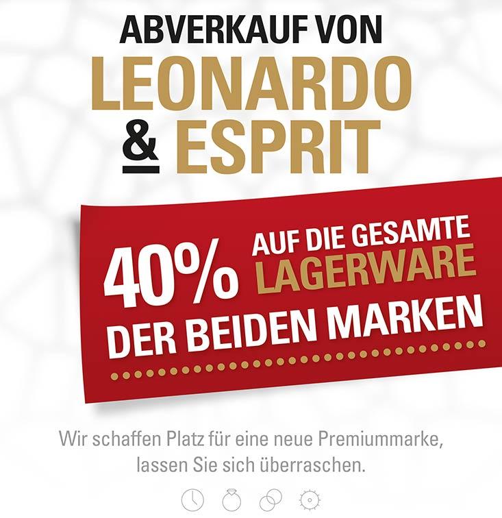 Uhren + Schmuck Köhler in Mühldorf - Oktober-Aktion: 40% auf Lagerware der Marken Leonardo und Esprit